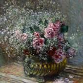 Claude Monet's Fleurs dans un pot (Roses et brouillard) Estimate $4/6 Million