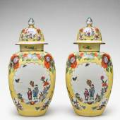 10776 Lot 104 A pair of Meissen Augustus Rex yellow-ground baluster vases and covers
