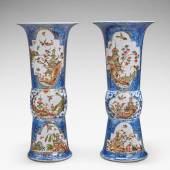10776 Lot 49 An extremely rare pair of Meissen Augustus Rex underglaze-blue-ground beaker vases