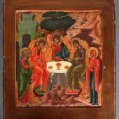Los-Nr.: 287  Feine Russische Ikone, Alttestamentarische Dreifaltigkeit, Mitte 19. Jahrhundert Ausruf: 400,00 €