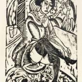 """Ernst Ludwig Kirchner """"Frau, Schuh zuknöpfend"""". 1912. Ernst Ludwig Kirchner """"Frau, Schuh zuknöpfend"""". 1912."""