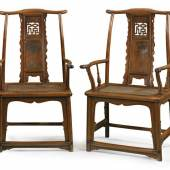 A rare and exceptional pair of huanghuali and huamu 'fu' character yokeback armchairs (sichutouguanmaoyi), Ming dynasty17,  Estimate 500,000 — 700,000 USD