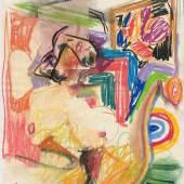 Anton Henning Skizze No. 1 für Pin-up 2019 Pastell auf Papier 61 x 48 cm