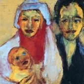 "Emil Nolde, ""Junge Familie"", 1949, Öl auf Leinwand, 70 x 56,5 cm, links unten signiert Bild: Schütz Fine Art/© Bildrecht Wien, 2018"
