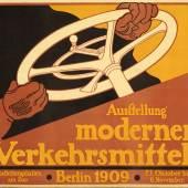 Julius Klinger: Ausstellung moderner Verkehrsmittel, 1909. Lithographie, 70,7 x 94,3 cm. Staatliche M Kunstbibliothek