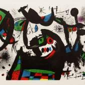 """Joan Miró, """"Homenatge a Joan Prats"""", 65 x 85 cm, Farblithographie auf Büttenpapier, signiert und nummeriert 40/75 , Foto: Runge Kunsthandel"""