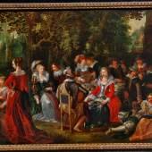 """10. David Vinckboons """"Elegante Gesellschaft"""", um 1610, Öl auf Holz, 55,5 x 85 cm, verso: Hände und Turm von Antwerpen  Foto: Kunst & Antiquitätenhandel Andre"""