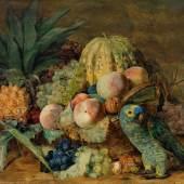 Ferdinand Georg Waldmüller, Früchtestillleben mit einem Amazonenpapagei, € 150.000 - 200.000
