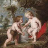 Peter Paul Rubens und Werkstatt, Der Christusknabe mit dem kindlichen Johannes, erzielter Preis 558.030