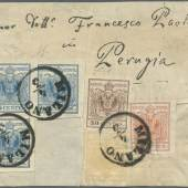 """Los 11081 Österreich / Lombardei-Venetien 1850: 5c yellow, 15c red, 30c brown second type, 45c blue second type bloc of three, all tied by """"MILANO 4.3"""" cds on large piece showing the complete printed address """"Signor Dottr. Francesco Paolotti in Perugia""""."""