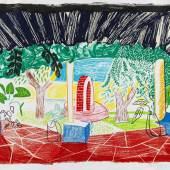 """Lot: 215 David Hockney 1937 Bradford - lebt und arbeitet in London und Los Angeles Views of Hotel Well I. 1984. Farblithografie Tyler 280. Signiert, datiert """"1984-5"""" und gewidmet. Verso mit der handschriftlichen Werkstattnummer """"DH 84-791. Exemplar außerhalb der Auflage von 75. Auf festem Bütten. 75 x 101 cm (29,5 x 39,7 in)Papier: 80 x 104,5 cm (31,5 x 41,1 in). Aus der Folge """"Moving Focus"""". Herausgegeben von Tyler Graphics Ltd., Bedford Village (jetzt Mount Kisco), New York (mit dem Trockenstempel)."""