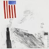 """Lot: 201 David Hockney 1937 Bradford - lebt und arbeitet in London und Los Angeles My bonnie lies over the ocean. 1961. Farbige Aquatintaradierung mit Collage Scottish Arts Council 13. In rotem Buntstift signiert. In der Platte datiert """"new york / july 1961"""", betitelt und bezeichnet. Exemplar außerhalb der Auflage von 50 Exemplaren. Auf Velin. 45 x 45 cm (17,7 x 17,7 in)Papier: 52,5 x 48,2 cm (20,6 x 18,9 in). Gedruckt von Ron Fuller and Peter Mathews, Royal College of Art, London. [JS]."""