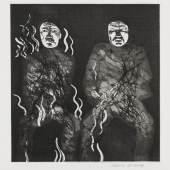 """Lot: 206 David Hockney 1937 Bradford - lebt und arbeitet in London und Los Angeles Corpses on Fire. 1969. Radierung, Aquatinta und Kaltnadelradierung Scottish Arts Council 91. Signiert. Verso handschriftlich bezeichnet """"Grimm Edition C 60/100"""". Auf Velin von Hodgkinson (mit einem Wasserzeichen). 25,5 x 24,6 cm (10 x 9,6 in)Papier: 45,5 x 30,9 cm (17,9 x 12,1 in). Blatt 22 des Buches """"Six fairy tales from the Brothers Grimm"""", gedruckt von Print Shop, Amsterdam, herausgegeben von der Petersburg Press, London 1970. [SM]."""