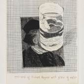 Lot: 210 David Hockney 1937 Bradford - lebt und arbeitet in London und Los Angeles Postcard of Richard Wagner with a glass of water. 1973. Radierung Scottish Arts Council 154. Signiert, datiert und nummeriert sowie mit dem Copyright-Trockenstempel. In der Platte in Rot betitelt. Exemplar 13/100. Auf Velin. 16,2 x 12 cm (6,3 x 4,7 in)Papier: 21,2 x 15 cm (8,3 x 5,9 in). Gedruckt von Michael Rand, London, herausgegeben von Bernard Jacobson, London 1973. [SM].