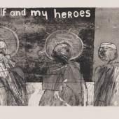 Lot: 200 David Hockney 1937 Bradford - lebt und arbeitet in London und Los Angeles Myself and My Heroes. 1961. Aquatintaradierung Scottish Arts Council 4. Signiert und datiert. In der Platte betitelt und bezeichnet. Eines von etwa 50 Exemplaren. Auf Velin, auf Karton aufgezogen. 26 x 50 cm (10,2 x 19,6 in)Papier: 37,5 x 59,5 cm (14,7 x 23,4 in). Gedruckt von Run Fuller und Peter Mathews, Royal College of Art, London 1961. Die Dargestellten sind Walt Whitman (1819-1892, einer der Begründer der US-amerikanischen Dichtung), Mahatma Ghandi aund David Hockney. Whitman hat in seiner Lyik die Schönheit der Natur und die Demokratie seines Landes behandelt. Auch thematisiert er die Gleichberechtigung der Geschlechter und seine bisexuelle Neigung. [JS].