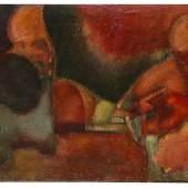 Lot: 1164 Markus Lüpertz 1941 Liberec/Böhmen - lebt und arbeitet in Berlin, Düsseldorf und Karlsruhe Komposition. 1960. Öl auf Rupfen Rechts oben signiert und datiert. 100 x 139,5 cm (39,3 x 54,9 in)  Die Authentizität der vorliegenden Arbeit wurde von Prof. Markus Lüpertz bestätigt, dem wir für die freundliche Unterstützung danken. (Schätzpreis: 10.000 EUR / 13.700 $  )