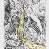 Lot: 1096 Jörg Immendorff 1945 Bleckede bei Lüneburg - 2007 Düsseldorf The Rake's Family. 1995. Mappe mit 12 Farblithografien, Titelblatt und Vorwort, herausgegeben von Quensen/Steinmann, Lamspringe 1995 Geuer & Breckner 1995.1.1 - 1995.1.12. Jeweils signiert und nummeriert. Jeweils im Stein betitelt und teils bezeichnet. Zusätzlich auf dem Titelblatt nummeriert. Exemplar 12/33. Prachtvolle Handdrucke auf Velin von Hahnemühle (ohne Wasserzeichen). Bis 116 x 82 cm (45,6 x 32,2 in)Papier: je 140 x 100 cm (55,1 x 39,3 in). Gedruckt von Quensen, Lamspringe (jeweils mit dem Trockenstempel). Lose Bogen in Original-Plexiglaskassette. Vollständig. (Schätzpreis: 7.000 EUR / 9.590 $ )