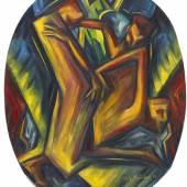 Lot: 32 Hans Siebert von Heister 1888 Düsseldorf - 1967 Berlin Ekstatische Figuren. 1919. Öl auf Leinwand. Rechts unten signiert und datiert. 86,5 x 70 cm (34 x 27,5 in).  PROVENIENZ: Galerie Pabst, München (verso mit dem Galeriestempel). Privatsammlung Nordrhein-Westfalen.  AUSSTELLUNG: Novembergruppe, 4.12.1993-5.2.1994, Galerie Bodo Niemann, Berlin, Kat.Nr. 137, mit Farbabb. S. 50.   Schätzpreis: 7.000 EUR / 9.100 $