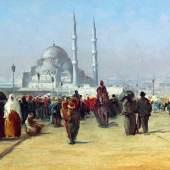 Fausto Zonaro (1854 - 1929) Reges Treiben auf der Galata Brücke in Konstantinopel, Schätzwert € 80.000 - 120.000, Fotonachweis: Dorotheum