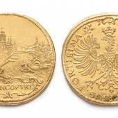 Goldmünze, Frankfurt am Main, 5 Dukaten, auf das Ende des 30-jährigen Krieges, 1648, ca. 17,03 g Ausruf EUR 24.000,-