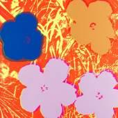 """Lot: 975 Andy Warhol 1928 Pittsburgh - 1987 New York Flowers. 1970. Folge von 10 Farbserigrafien. Vergleiche Feldman/Schellmann/Defendi II.64-73. Auf Offsetkarton. Je 89,9 x 89,9 cm (35,3 x 35,3 in), blattgroß. Jeweils verso mit den Stempeln """"fill in your own signature"""" und """"published by Sunday B. Morning"""". Sogenannte fake-prints aus einer späteren Auflage, herausgegeben von Sunday B. Morning. [AKF]."""