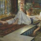Ferdinand Max Bredt Muße der Odalisken - Öl auf fester Malpappe, Ende 19. Jh., 50 x 79,5 cm (19.6 x 31.2 in) Schätzpreis: € 30.000-40.000
