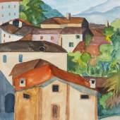 """Lot: 530 Hermann Hesse 1877 Calw - 1962 Montagnola/Schweiz Montagnola. 1923. Aquarell über Bleistift. Unten mittig datiert """"Juli 23"""" und bezeichnet """"Ti"""" [Ticino]. Auf chamoisfarbenem Bütten (mit Wasserzeichen """"MBM""""). 31,5 x 24,2 cm (12,4 x 9,5 in), Blattgröße."""