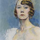 Lot: 408 Cuno Amiet 1868 - 1961 Brustbild einer Dame (Irene). 1925. Öl auf Leinwand. Links unten signiert. Am rechten Rand mittig monogrammiert und datiert. 45,5 x 38 cm (17,9 x 14,9 in). Eines der seltenen leuchtenden Damenporträts des Künstlers auf dem internationalen Auktionsmarkt (Quelle:www.artnet.de).