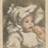 """Lot: 286 Pierre-Auguste Renoir 1841 Limoges - 1919 Cagnes-sur-Mer L'enfant au biscuit (Jean Renoir). 1898/99. Farblithografie. Delteil 31. Stella 31. Eines von 100 Exemplaren. Auf Ingres-Bütten (mit Wasserzeichen """"MBM (France) - Ingres d'Arches""""). 32 x 26,4 cm (12,5 x 10,3 in). Papier: 62,5 x 47,7 cm (24,6 x 18,9 in). Für das von Ambroise Vollard geplante """"L'Album d'estampes originales de la Galerie Vollard"""", das jedoch nicht realisiert wurde. Die Farben variieren innerhalb der Auflage. Das anmutige Kinderbildnis zeigt Renoirs zweiten Sohn Jean.  Schätzpreis: 8.000 EUR / 10.400 $"""