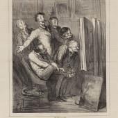 """Lot: 106 Honoré Daumier 1808 Marseille - 1879 Valmondois A Travers les Ateliers. 1862. Lithografie. Delteil 3246 I (von II). Im Stein monogrammiert. Außerhalb der Darstellung typografisch bezeichnet und betitelt. Seltenes unverpresstes und gesuchtes Blatt des 1. Zustands. Auf Velin, mit der üblichen Mittelfalte und verso mit dem Text. 25,1 x 21 cm (9,8 x 8,2 in). Papier: 40,2 x 29,1 cm (15,8 x 7,5 in). Erschienen in der Zeitschrift """"Le Boulevard"""", 20. April 1862. Schätzpreis: 9.000 EUR / 11.520 $"""