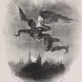 Lot: 112 Eugène Delacroix 1798 Charenton - 1863 Paris Méphistophélès dans les airs. 1828. Lithografie. Delteil 58 II (von V). Bezeichnet und mit Textzeile. Prachtvoller Druck auf losem Velin, später auf gelbliches Velin aufgezogen. Mit der Verleger-Adresse Ch. Motte, Paris. Sehr selten. 27,4 x 23,5 cm (10,7 x 9,2 in). Papier: 31,4 x 24,2 cm (12,4 x 9,5 in). Blatt 2 der französischen Ausgabe von Goethes Faust in der Übersetzung von Albert Stapfer, mit 18 Illustrationen von Eugène Delacroix. [CB]. Schätzpreis: 1.500 EUR / 1.920 $