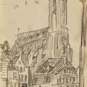 Lot: 108   Feininger, Lyonel  Lüneburg, 1921.  Schätzpreis: 4.000 EUR / 5.200 $