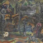 Auktion: 408 / Sammlung Harry Beyer am 15.05.2013   Lot: 29   Kars, Georges  Reiter und Flaneure im Park, 1900.  Erlös (inkl. 22% Aufgeld): 97.600 EUR / 128.832 $ Schätzpreis: 8.000 EUR / 10.560 $