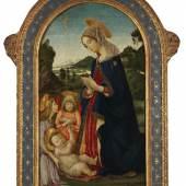 Auktion: 408 / Sammlung Harry Beyer am 15.05.2013   Lot: 6   Botticini, Francesco  Zugeschrieben - Anbetung Mariens mit zwei Engeln  Erlös (inkl. 22% Aufgeld): 122.000 EUR / 161.040 $ Schätzpreis: 15.000 EUR / 19.800 $