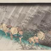 """Utagawa Hiroshige (1797–1858) Shono, Station 46 aus der Serie """"Die 53 Stationen des Tokaido"""", Tokaido gojusan tsugi no uchi Nishiki–e, oban, 22,7 x 29,4 cm, signiert Hiroshige, publiziert von Takenouchi Magohachi, Japan, 1834. Ankauf 2014, Sebastian Izzard LLC., New York/USA Museum für Ostasiatische Kunst Köln, R 2014,2 © Rheinisches Bildarchiv Köln: rba_d045446"""