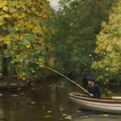 Lot: 655   Brendekilde, Hans Andersen  Angelnder Junge, 1880.  Schätzpreis: 15.000 EUR / 19.500 $
