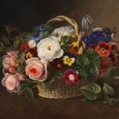 Lot: 648   Jensen, Johan Laurentz  Blumenstillleben mit Rosen, Winden und Stiefmütterchen in einem Korb, 1843.  Schätzpreis: 25.000 EUR / 32.500 $