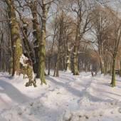 Lot: 668   Mönsted, Peder (Peder Mørk Mønsted)  Verschneiter Waldweg bei Sonnenlicht, 1908.  Schätzpreis: 60.000 EUR / 78.000 $