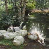 Lot: 255   Koester, Alexander  Sechs Enten am Teichufer, Um 1908.  Erlös (inkl. 22% Aufgeld): 39.040 EUR / 54.265 $