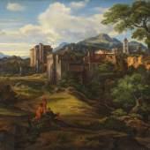 Lot: 168   Olivier, Ferdinand  Campagnalandschaft mit befestigter Stadt, Um 1830.  Erlös (inkl. 22% Aufgeld): 39.040 EUR / 54.265 $