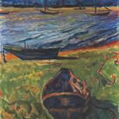 € 660.000* Aufruf: € 550.000 Los 315: H.M. Pechstein – Boote am Dangaster Priel/Kühe (beidseitig bemalt)