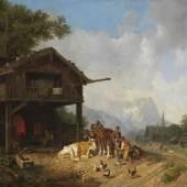 Lot: 179   Bürkel, Heinrich  Beim Hufschmied im Gebirge, Ca. 1850.  Erlös (inkl. 25% Aufgeld): 18.750 EUR / 26.062 $