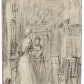 Lot: 45   Mieris d. Ä., Frans van  Zugeschrieben - Interieur mit zwei Damen, Ca. 1670.  Erlös (inkl. 22% Aufgeld): 82.960 EUR / 115.314 $