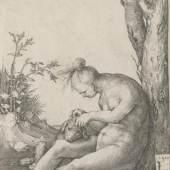 Lucas van Leyden, Nackte Frau einen Hund flöhend, 1510  Kupferstich, 105 x 72 mm (Blatt) Staatliche Graphische Sammlung München © Staatliche Graphische Sammlung München