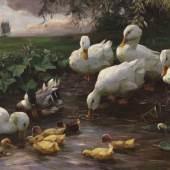 330 ALEXANDER KOESTER Erpel mit Enten und Küken am Seeufer, Ca. 1905-1910. Öl auf Leinwand Schätzpreis: € 20.000