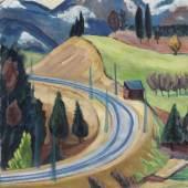 115001361 Gabriele Münter Straßendurchstich (Die Kurve bei Berggeist), Wohl 1935. Öl auf Leinwand Schätzpreis: € 180.000