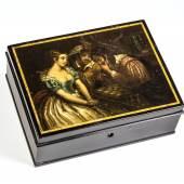 """911 - RECHTECKDOSE MIT SCHACHSPIEL-SZENE NACH CHALON Stobwasser, Braunschweig, 1825-1830 """" Katalogpreis: 2.500 - 2.800 €"""
