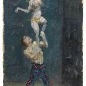 """047   Josef Hegenbarth, Akrobaten. Um 1930.  Josef Hegenbarth 1884 Böhmisch Kamnitz – 1962 Dresden-Loschwitz Öl auf Malpappe. Signiert """"Jos. Hegenbarth"""" o.li. In einer schlichten, schwarz gefassten Holzleiste gerahmt. 9.500 €"""