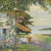 82 EDWARD CUCUEL Die Villa des Künstlers am Starnberger See (Das Sommerhaus), Um 1920. Öl auf Leinwand Schätzpreis: € 12.000 - 15.000