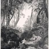 """222   Johann Wilhelm Schirmer """"Pan und die Nymphen"""" (Aus dem goldenen Zeitalter). 1846. 750 €"""